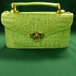 green Crocodile purse